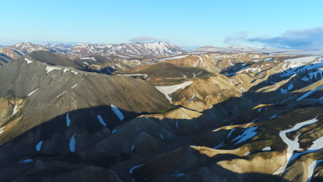 4k aerial shot of Valley National Park Landmannalaugar. On the gentle slopes of the mountains are snow fields and glaciers. Magnificent Iceland in the summer