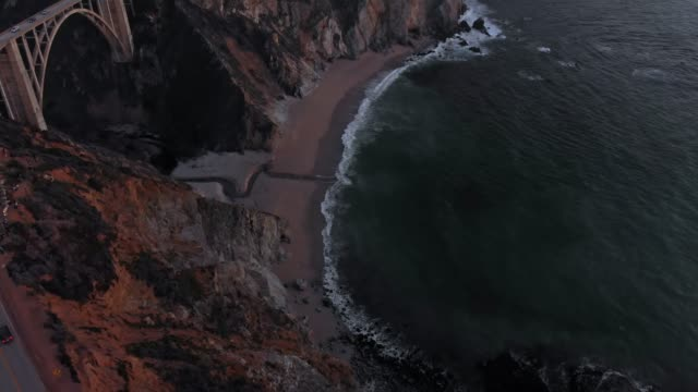 4k aerial video - bixby creek bridge at big sur coastline, california, usa - bixby creek bridge stock videos & royalty-free footage