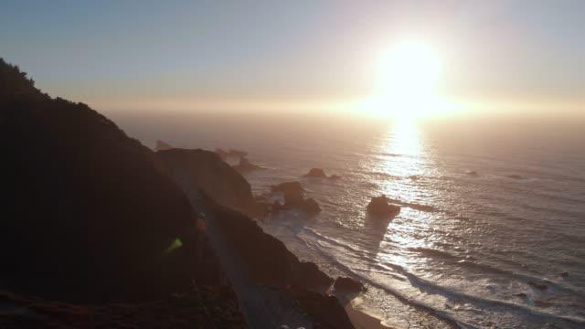 4k aerial video - bixby creek bridge at big sur coastline, california, usa - monterey county stock videos and b-roll footage