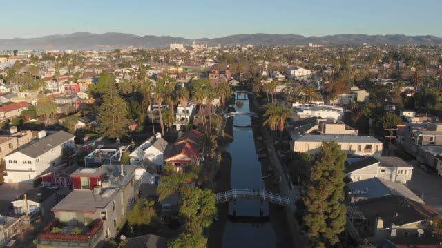 4k aerial video - canals and streets in venice, california - venice beach stock videos & royalty-free footage