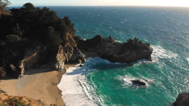 4k aerial video - mcway falls in big sur california - monterey county stock videos and b-roll footage