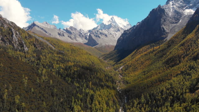 4k aerial view and dolly in of valley in autumn season at yading nature reserve, china. - high dynamic range imaging stock videos and b-roll footage
