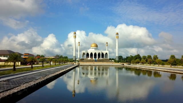 4k Aerial view Central Songkhla Mosque, Thailand with clear sky