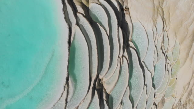 4k aerial view lockdown; Abstract natural pattern of Waterfall White water terrace in china.