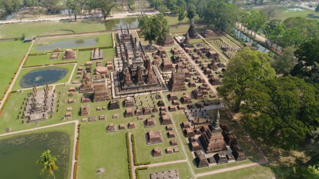 4k aerial view of ayuthaya ancient city - ayuthaya province stock videos and b-roll footage