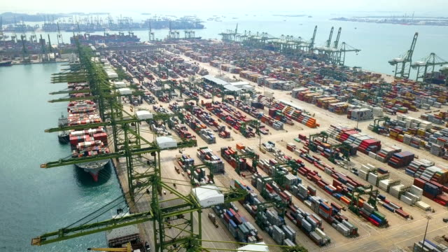 4k Aerial View of Industrial port with containers ship, South east asia