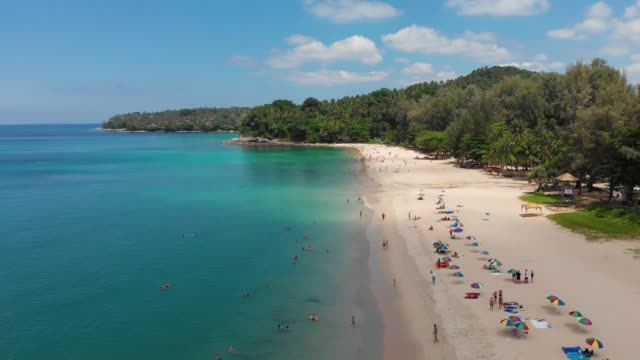 4k aerial view of people on the beach. - thailand stock videos & royalty-free footage