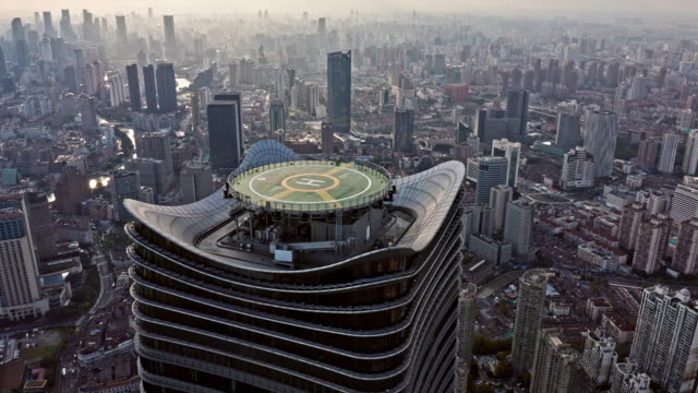 4k : aerial view of shanghai skyline - china east asia stock videos & royalty-free footage