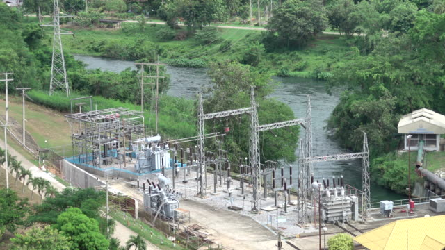 4k: Aerial view of Thailand Power station generating electricity at daytime