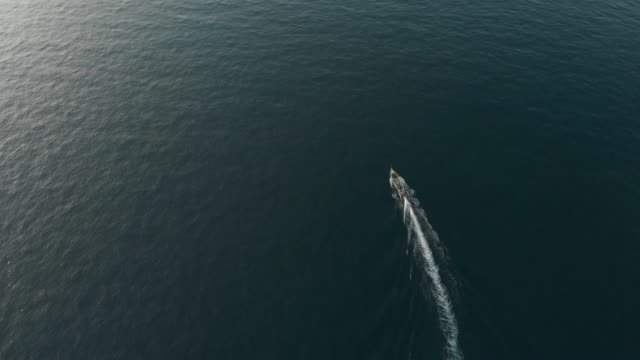 4k aerial view tracking shot of fisherman boat. - wide stock videos and b-roll footage