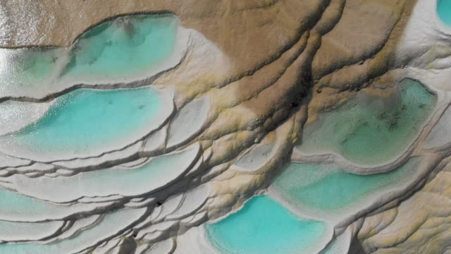 4k aerial view zoom out; Abstract natural pattern of Waterfall White water terrace in china.