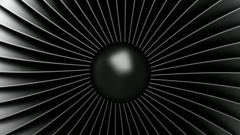4k animation of seamless loop. black stainless steel jet engine blades. close-up view of rotation turbine from turbojet airplane engine. - turbine stock videos & royalty-free footage