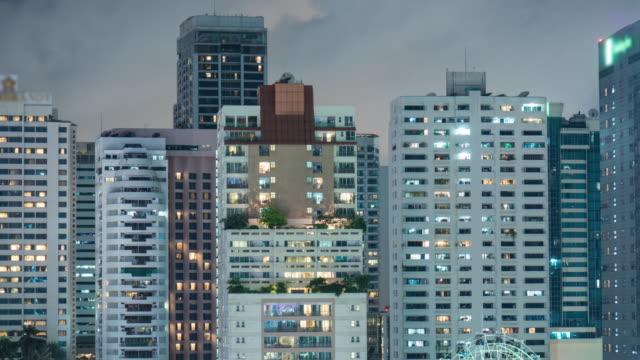4k Apartment building at night