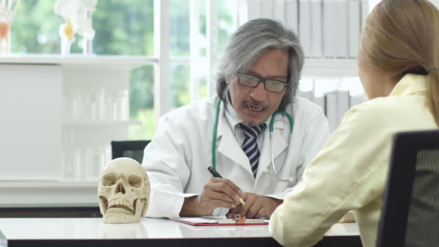 4k: Asian doctor and patient talking about headache in hospital or clinic.