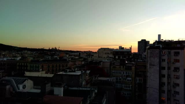 4k barcelona sunset montjuic palau sant jordi skyline