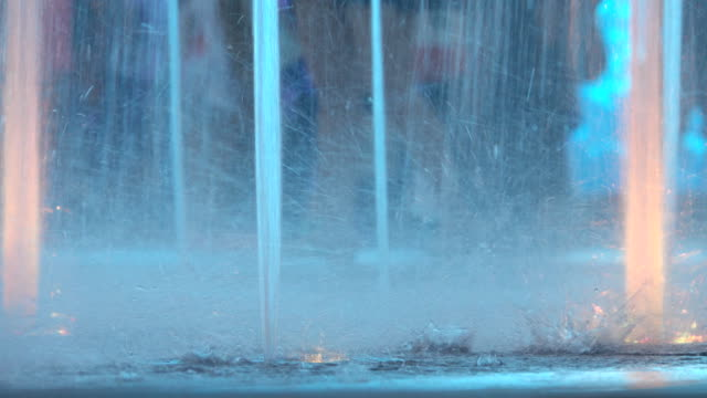 4k, beautiful background with jets of water fountain. - squirting stock videos and b-roll footage