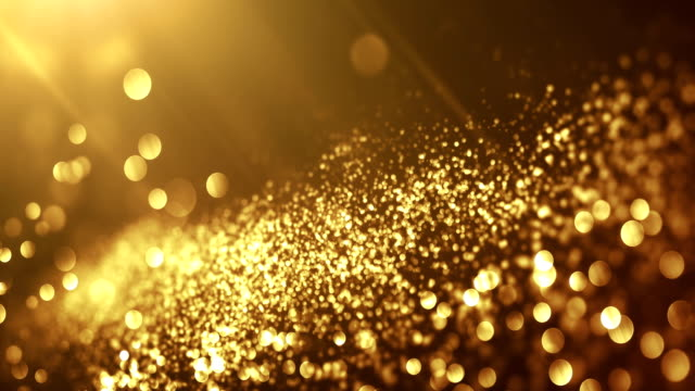 vídeos de stock e filmes b-roll de 4k beautiful bokeh and light beams (dark gold) - loop - dourado cores