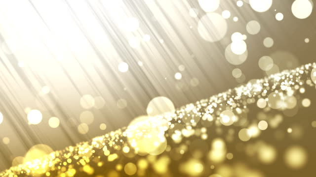 4k Beautiful Bokeh and Light Beams (Gold) - Loop
