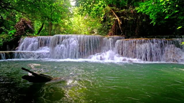 vidéos et rushes de 4k belle cascade «huay mae khamin» thaïlande, kanjanaburi - végétation verdoyante