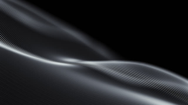 4k beautiful waving lines background (black) - loopable - smooth stock videos & royalty-free footage