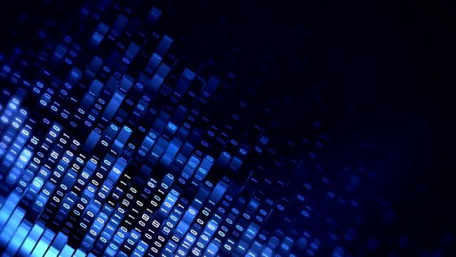 4 k binärcode schleife (blau): datenübertragung, ai, cloud-computing - ingenieurwesen stock-videos und b-roll-filmmaterial