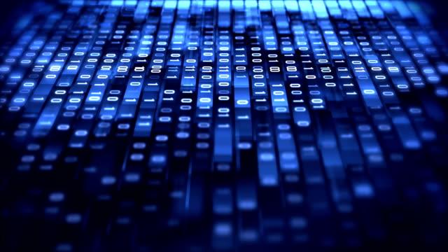 stockvideo's en b-roll-footage met 4 k binaire code loop (blauw): data-overdracht, ai, cloud computing - it'er