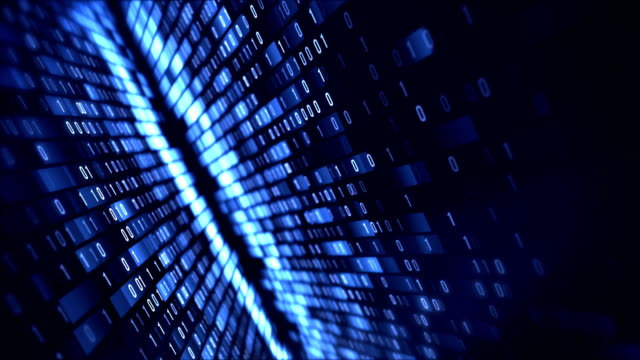 4k binary code loop (blue): data transfer, ai, cloud computing - sicurezza di rete video stock e b–roll