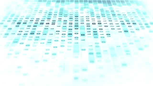 vídeos de stock e filmes b-roll de 4k binary code loop (white): data transfer, ai, cloud computing - código binário