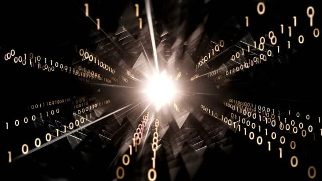 4k Binary Code Moving Towards Camera (Black) - Loop: Data Transfer, AI, Cloud Computing