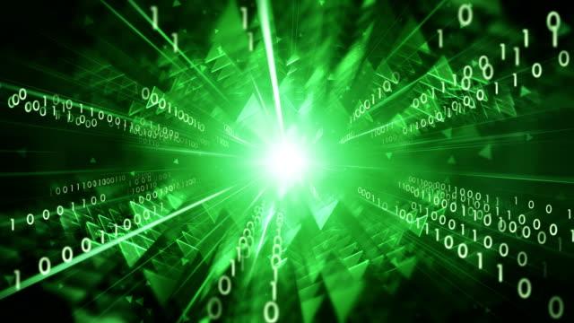 4k Binary Code Moving Towards Camera (Green) - Loop: Data Transfer, AI, Cloud Computing