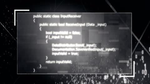 4k binary data flowing through program (black) - man made object stock videos & royalty-free footage