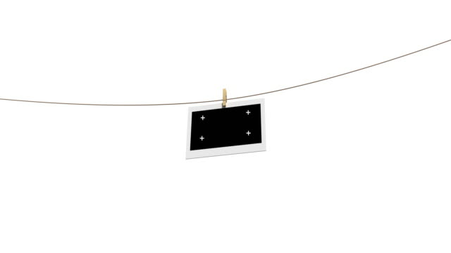 4k blank photos on the clothesline isolated with luma matte - washing line stock videos & royalty-free footage
