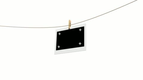 vídeos y material grabado en eventos de stock de 4 k fotos en blanco sobre la cuerda de tender la ropa aislado con mate de luminancia - transferencia de impresión instantánea
