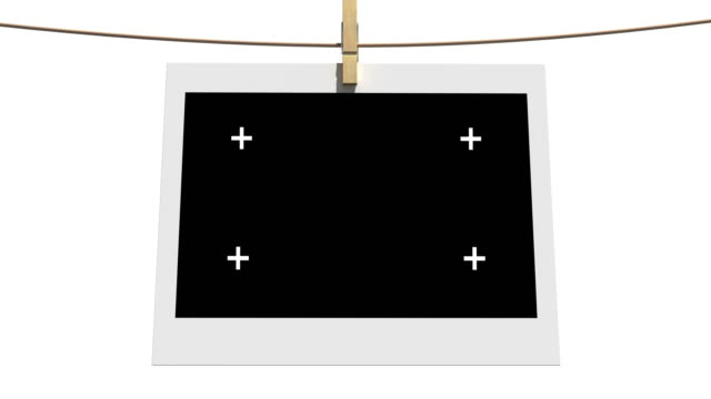 4k Blank photos on the clothesline isolated with luma matte