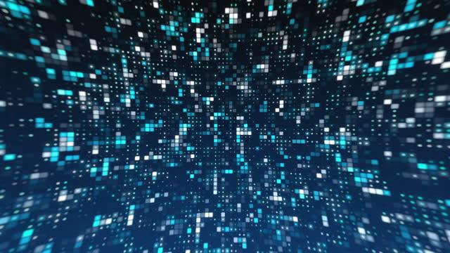 vídeos y material grabado en eventos de stock de 4k azul abstracto negocio tecnología digital square shapes y puntos de fondo azul - cristal estructura física