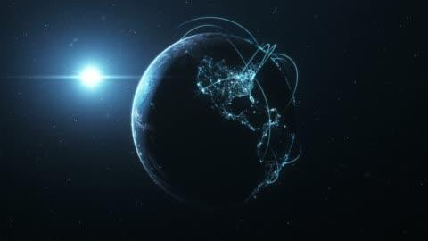 stockvideo's en b-roll-footage met 4k blue earth met verbindingslijnen (inzoomen)-internationale netwerk/vlucht routes - globaal