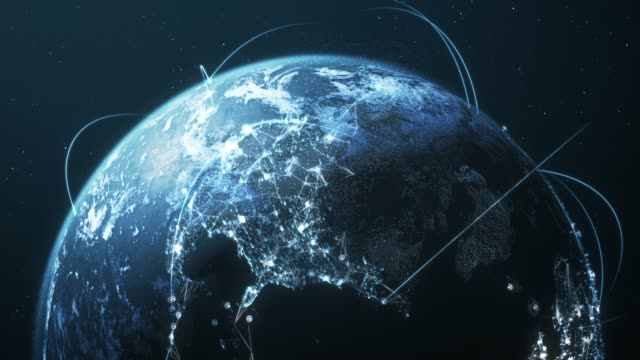 vídeos de stock e filmes b-roll de 4k blue earth with connection lines - loopable - international network / flight routes - network