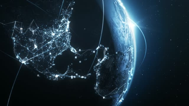 4k blue earth with connection lines (close up) - loopable - international network / flight routes - data stock videos & royalty-free footage