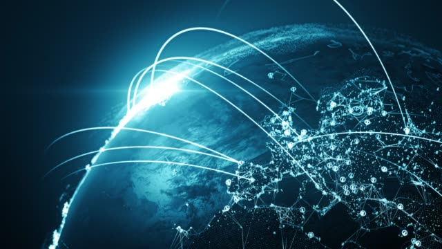 4k blue globe con linee di connessione (primo primo) - loopable dopo sei secondi - rete internazionale / rotte di volo - global communications video stock e b–roll