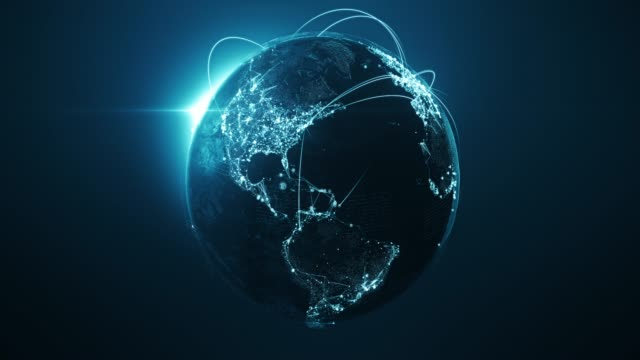 vídeos de stock e filmes b-roll de 4k blue globe with connection lines (centered) - loopable after six seconds - international network / flight routes - girar