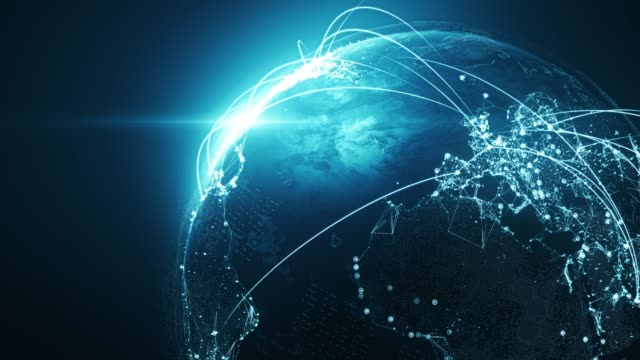 4k blue globe con linee di connessione - loopable after six seconds - rete internazionale / rotte di volo - global communications video stock e b–roll