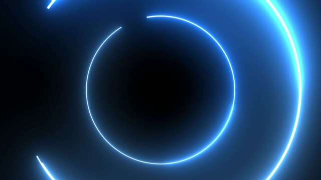 vídeos de stock e filmes b-roll de 4k blue neon circle lights background - efeito de luz