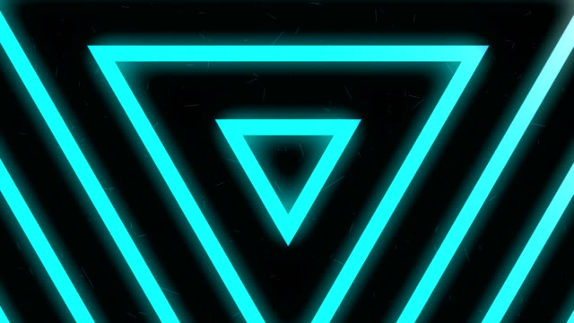 4k Blue neon light triangles background