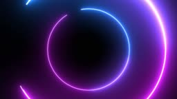 4k Blue Purple Neon Circle lights background