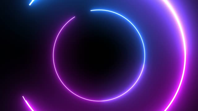 vídeos de stock e filmes b-roll de 4k blue purple neon circle lights background - eletrónica