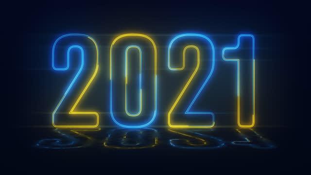 vídeos y material grabado en eventos de stock de 4k azul amarillo realista neón 2021, feliz 2021 nuevo año estandarte de neón - calendario