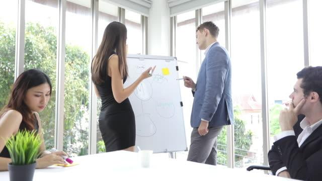 4k geschäftsfrauen und engineering-gruppe mit notebook für geschäftspartner diskutieren dokumente und ideen bei meetings und geschäftsfrauen lächelnd glücklich für die arbeit - ernst stock-videos und b-roll-filmmaterial