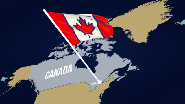 4k canadian flag on map - bandiera del canada video stock e b–roll