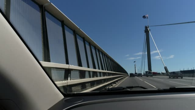 4k car pov bridge, melbourne, australia - car point of view stock videos & royalty-free footage