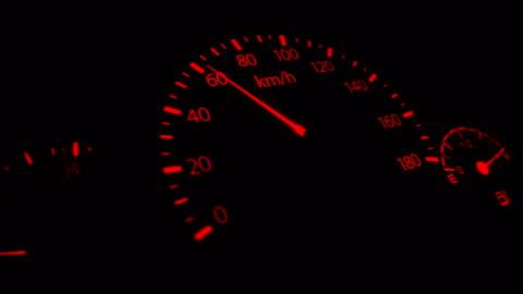 vidéos et rushes de animation de vision 4 k voiture tableau de bord nocturne - compteur